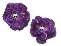 Hairy Scary Purple Glitter Rosie the Reaper Skull Hair Clip Set