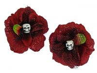 Hairy Scary Red Glitter Blk Net Rosie the Reaper Skull Hair Clip Set