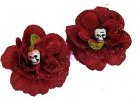 Hairy Scary Red Glitter Rosie the Reaper Skull Hair Clip Set
