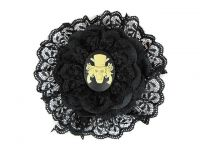 Hairy Scary Black w White Haunted Mansion Cameo Emily Dickens Hair Clip