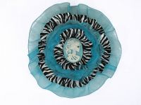 Hairy Scary Blue & Zebra w White Victorian Cameo Emily Dickens Hair Clip Pin