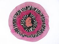 Hairy Scary Pink & Zebra w Pink Lady Skeleton Cameo Emily Dickens Hair Clip Pin