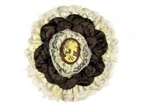 Hairy Scary White & Brown w White Victorian Cameo Emily Dickens Hair Clip