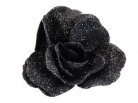 Hairy Scary Black Glitter Rose Traditional Flower Hair Clip