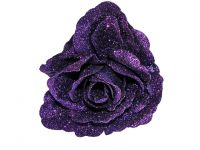 Hairy Scary Purple Glitter Rose Traditional Flower Hair Clip