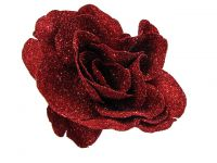 Hairy Scary Red Glitter Rose Traditional Flower Hair Clip