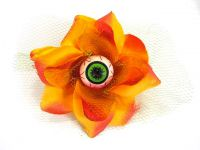 Hairy Scary Orange 3D Green Eyeball w Green Netting Eyeleen Hair Clip