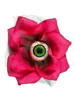 Hairy Scary Pink 3D Green Eyeball w Green Netting Eyeleen Hair Clip