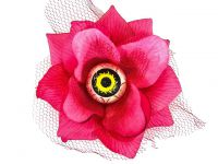 Hairy Scary Pink 3D Yellow Eyeball w Red Netting Eyeleen Hair Clip
