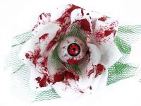 Hairy Scary White and Green Bloody 3D Red Eyeball w Red Netting Eyeleen Hair Clip