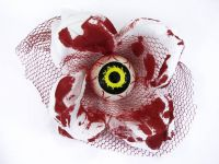 Hairy Scary White and Red Bloody 3D Yellow Eyeball w Red Netting Eyeleen Hair Clip