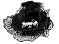 Hairy Scary Black Itsy Bitsy Hat Skull Hair Clip