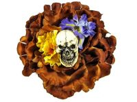 Hairy Scary Brown w Yellow & Purple Flowers Screaming Skull Tiki Terror Hair Clip