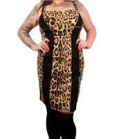 Tripp Plus Size Gothic Leopard and Black Print Insert Rockabilly Dress