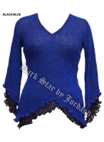 Dark Star Black and Blue Long Sleeve Rayon Knit Gothic Top
