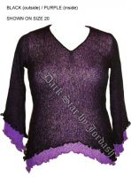 Dark Star Black w Purple Inside Long Sleeve Rayon Knit Gothic Top