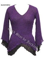Dark Star Black and Purple Long Sleeve Rayon Knit Gothic Top