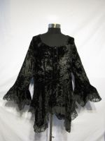 Dark Star Black Gothic Velvet Lace Renaissance Bell Sleeve Top
