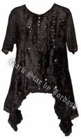 Dark Star Black Velvet Irregular Hem Shirt