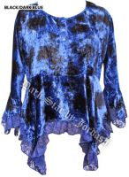 Dark Star Blue Gothic Velvet Lace Renaissance Bell Sleeve Top