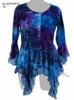 Dark Star Blue and Purple Gothic Velvet Lace Renaissance Bell Sleeve Top
