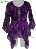 Dark Star Black and Purple Gothic Velvet Lace Renaissance Bell Sleeve Top