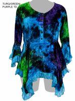 Dark Star Turquoise Green Purple Gothic Velvet Lace Renaissance Bell Sleeve Top