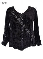 Dark Star Black Gothic Velvet Renaissance Gothic Lace Up Top