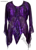 Dark Star Purple Black Gothic Georgette Mesh Renaissance