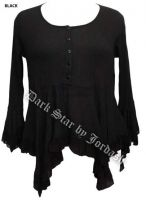Dark Star Black Gothic Georgette Renaissance Bell Sleeve Top