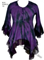 Dark Star Purple and Black Gothic Georgette Renaissance Bell Sleeve Top