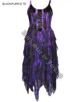 Dark Star Black Purple Corset Witchy Hem Dress