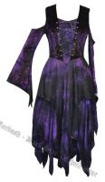 Dark Star Purple & Black Velvet Jacquard Corset Fairy Dress