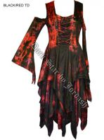 Dark Star Red & Black Velvet Jacquard Corset Fairy Dress