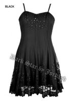 Dark Star Gothic Black Mesh Embroidered Lace Trim Dress