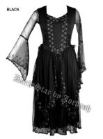 Dark Star Black Gothic Corset Long Mesh Lace Ribbon Dress