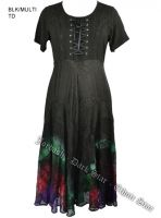 Dark Star Plus Size Black and Multi Die Gothic Corset Long Gown w Sleeves