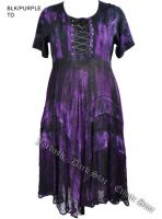 Dark Star Plus Size Black and Purple Gothic Corset Long Gown w Sleeves