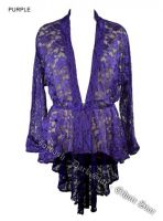 Dark Star Purple Lace Gothic Duster Jacket w Frog Fastening