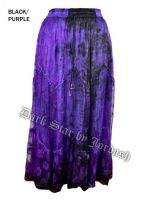 Dark Star Plus Size Long Purple & Black Lace Georgette Mesh Skirt