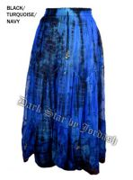 Dark Star Plus Size Long Black & Turquoise & Navy Lace Georgette Mesh Skirt