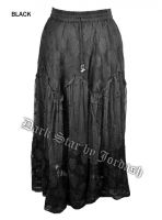 Dark Star Plus Size Long Black Lace Georgette Mesh Skirt
