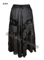 Dark Star Plus Size Long Black Jacquard Satin Embroidered Georgette Skirt