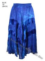 Dark Star Plus Size Long Blue Tie Dye Jacquard Satin Embroidered Georgette Skirt