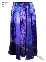 Dark Star Plus Size Long Purple & Navy Tie Dye Velvet Georgette Skirt
