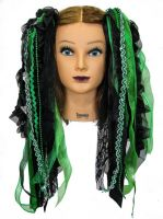 Kelly Green & Black Gothic Ribbon Hair Falls by Dreadful Falls