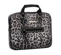 Rock Rebel Grey Black and Silver Leopard Media Bag Laptop Case