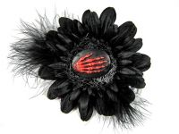 Nick's Bows Black & Black Feather w Red Skeleton Hand Cameo Edgar Allen Poe Hair Clip