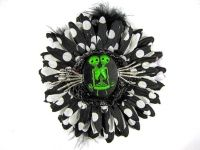 Nick's Bows Black PolkaDot & Black Feather w Green Conjoined Twins Cameo & Silver Hands Edgar Allen Poe Hair Clip