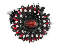 Nick's Bows Black PolkaDot w Red & Black Feather w Red Skeleton Hand Cameo Edgar Allen Poe Hair Clip